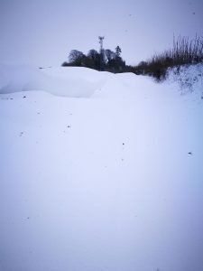 Collinstown to Delvin road. The drifts are over waist height in places according to David Jones.