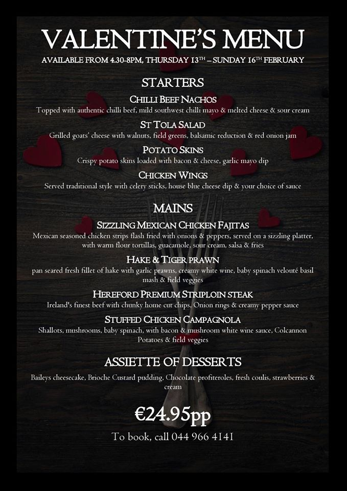 Valentines Menu at the Caman Inn